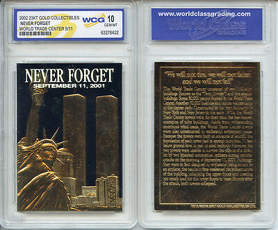 World Trade Center 9/11 *Black Gold* 23 KARAT GOLD CARD - GEM-MINT 10 *Lot of 5*