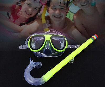 Kids Snorkel Sets - PVC Swimming Swim Diving Scuba Anti-Fog Goggles Mask Snorkel Kids Glass Set US
