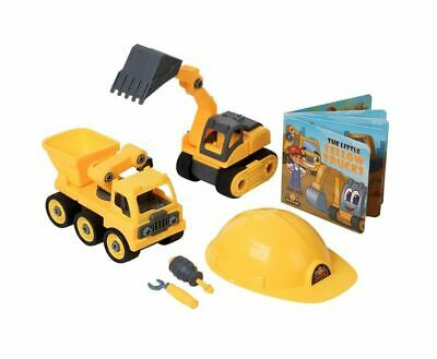 Take Apart Tractor Toys Set W/ Dump Truck, Excavator, Book, Screwdriver & Wrench