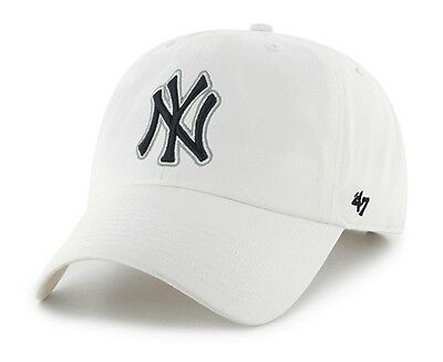New York Yankees 47 Brand White Clean Up Adjustable Field Cotton Hat Cap - 47 Brand Blank Hats