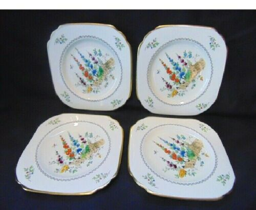 Vintage Tuscan China 6 inch plate (4) Dessert? Bread & Butter?  Hollyhock.
