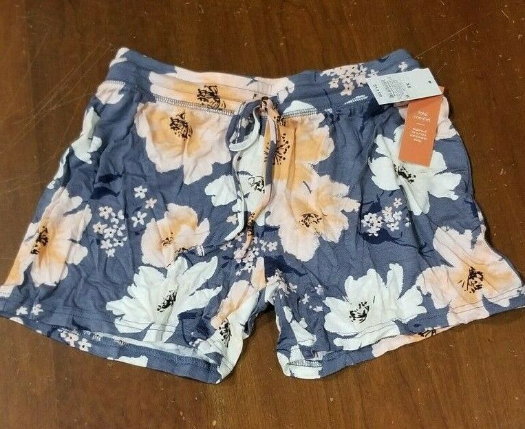 Women's Total Comfort Pajama Shorts By Gilligan & O'malley; X-small; Blue Floral Clothing, Shoes & Accessories