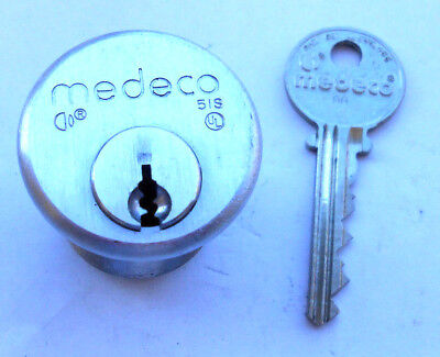 (1) Medeco 6 pin Mortise cylinder sub assembled  With 1 key NO PIN   Locksmith