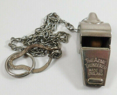 Vintage Acme Thunderer Whistle with Chain Made in England