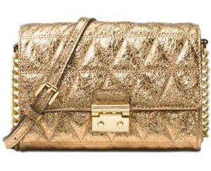 120c66c314a0 Michael Kors Ruby Quilted Leather Clutch Crossbody Pale Gold for ...