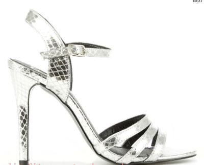 - DF By Daniel Minety Silver Metallic Reptile Sandal UK 4 EU 37 LN091 BB 04