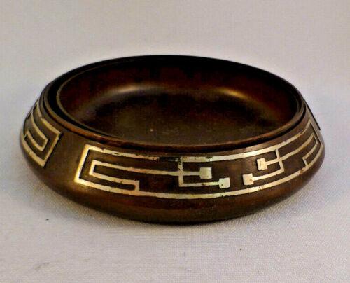 Heinz Art Mixed Metal Sterling on Bronze Arts & Crafts 3 part nesting Coasters
