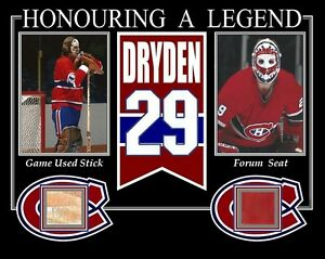 KEN-DRYDEN-HONOURING-A-LEGENDS-PHOTO-W-GAME-USED-STICK-MONTREAL-FORUM-SEAT