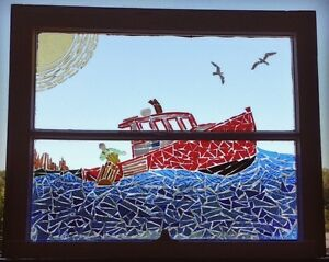 Lobster Boat stained glass