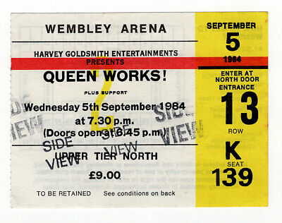 Queen Vintage Ticket - Side View - Works Tour Wembley 1984