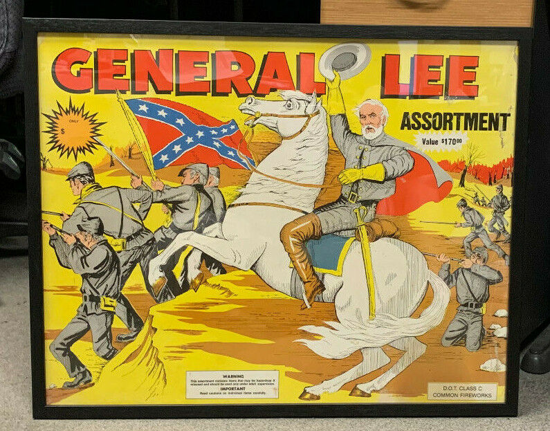 1983 General Lee Fireworks box Lid Only 24 X 30 Professionally Framed  - $750.00
