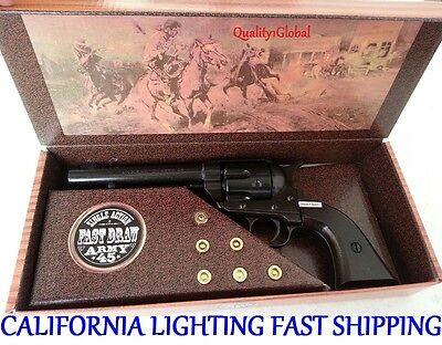 REAL WOOD METAL BLACK NEW CAP REPLICA FAST DRAW M1873 MOVIE PROP Pistol Gun KIT