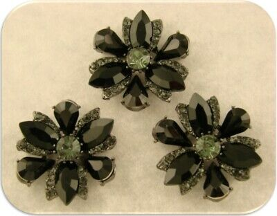 Flower Beads Jet Black & Smoke Swarovski Crystal Elements 2 Hole Sliders QTY 3 ()