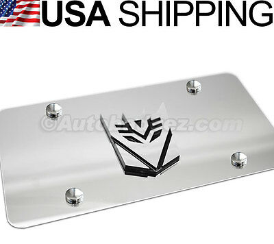 1- BRAND NEW 3D Transformers VANITY MIRROR CHROME STEEL LICENSE PLATE DECEPTICON