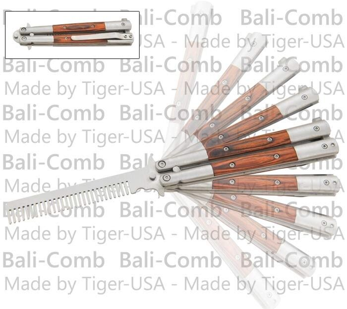 Balicomb Training Practice Butterfly Knife Balisong Steel Comb Pakka Wood Handle