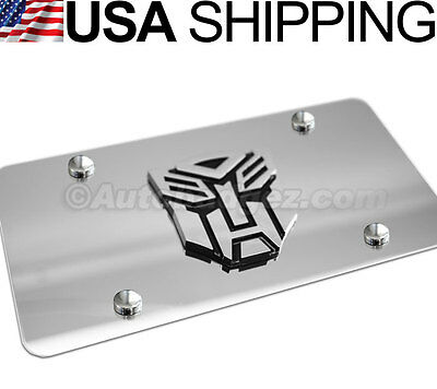 1 - BRAND NEW 3D Transformers VANITY MIRROR CHROME STEEL LICENSE PLATE AUTOBOT