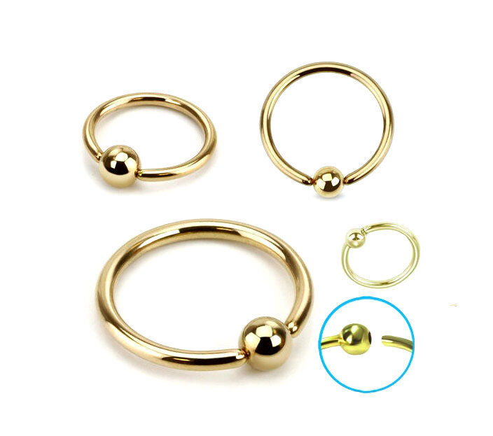 Gold Titanium Captive Bead Ring Hoop Earring Cartilage Tragus