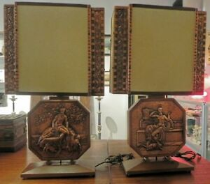 PAIR OF COPPER AND WOOD LAMPS BY A GILLES QUEBEC