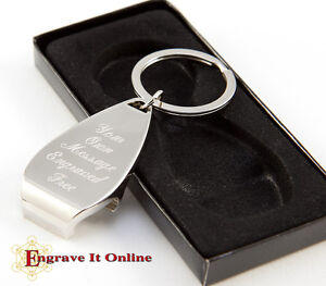 Personalised Chrome Bottle Opener Keyring/Keychain ENGRAVED FREE & UK FREE POST