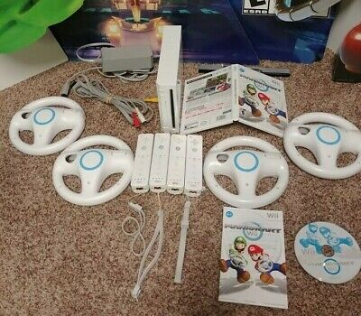 Nintendo Wii Console Mario Kart Bundle with 4 OEM controllers & 4 wheels SYNCED