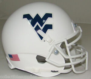 WEST VIRGINIA MOUNTAINEERS (ALTERNATE WHITE) SCHUTT MINI FOOTBALL HELMET