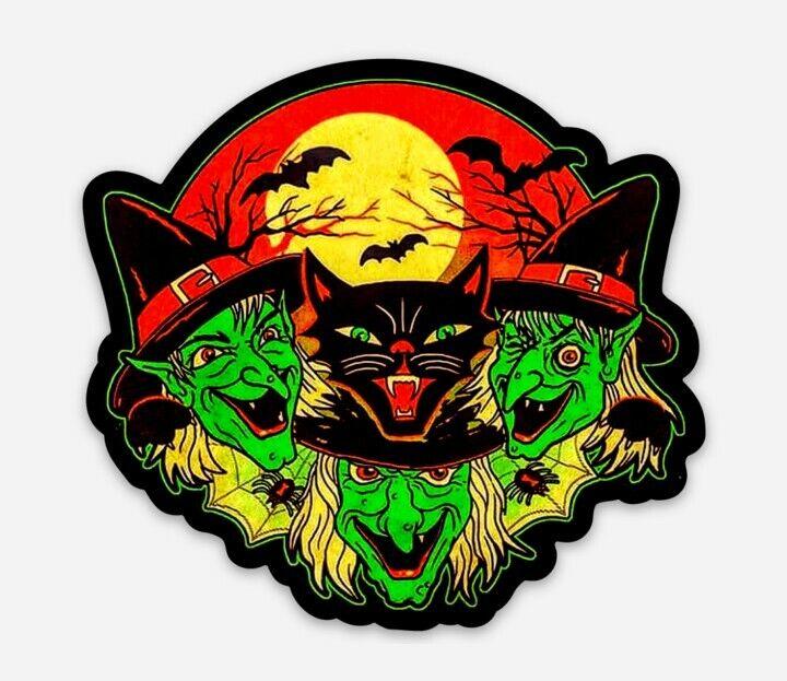 Witch Die Cut Vinyl Sticker Decal Cat Halloween Spooky