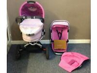 Quinny Buzz 3 Roller Pink Ltd Edition Travel System with Carrycot and Maxi Cosi Adapters