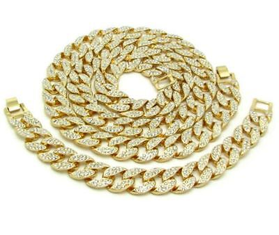 - COMBO ICED OUT DIAMOND GOLD PLATED MIAMI CUBAN CHAIN NECKLACE & BRACELET MENS