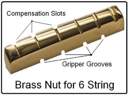 MusicianAtHeart NO GLUE / COMPENSATED Brass Nut made for GIBSON Guitar