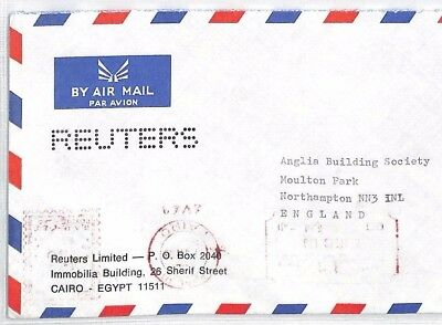 Bt101 Egypt Cairo Commercial Reuters News Agency Air Mail Cover  Samwells Pts