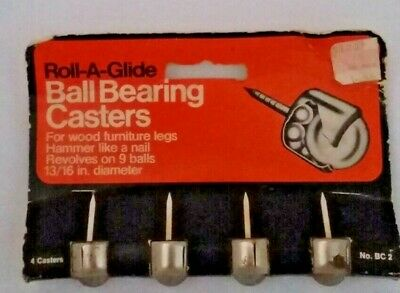 Vintage Roll-a-glide Ball Bearing Casters Set Of 4 Unused Original Package