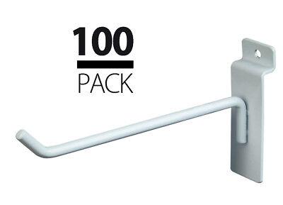 100 New Slatwall Metal Hook Bundle - 4 6 - 50 Each - White