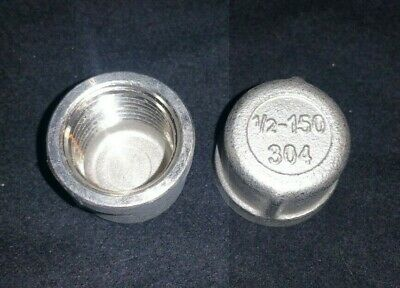 12 National Pipe Thread Npt Cap 304 Stainless Steel Class 150 Pack Of 2 New