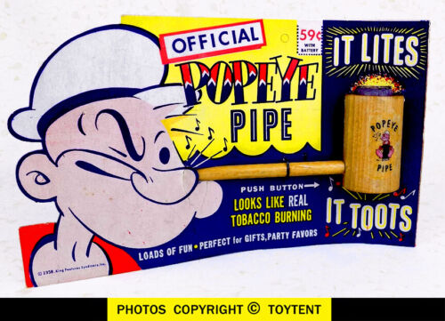 Popeye Lite-Up pipe lights & toots Putnam Products 1958 on store card
