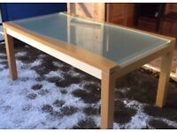 Italian Frosted Glass & Wood Dining Table FREE DELIVERY 125