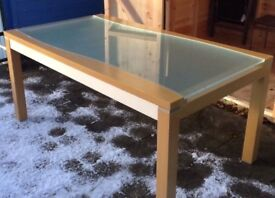 Italian Frosted Glass & Wood Dining Table FREE DELIVERY 025