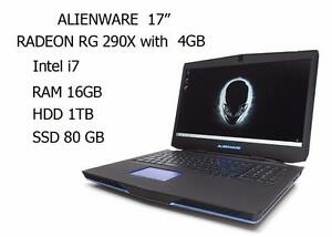 ALIENWARE 17 GAMING quad i7 3.5GHZ RAM 16GB SSD 80GB HDD 1TB RADEON R9 M290X with 4GB