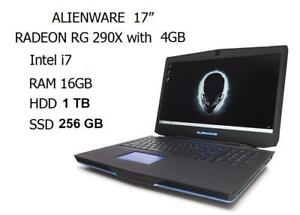 ALIENWARE 17 GAMING quad i7 3.5GHZ RAM 16GB ,256GB SSD, 1TB HDD RADEON R9 M290X with 4GB