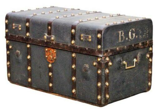 Large Victorian Black Leather  Trunk Rare Item Atkins Clark Boston Antique