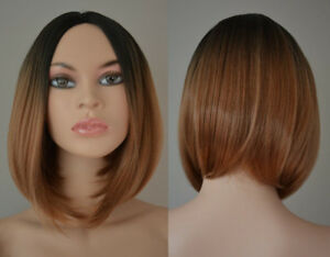 BRAND NEW: Deluxe Dark Blonde-Black Ombre Asymmetrical Bob Wig
