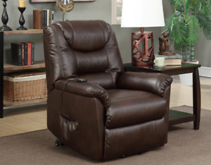 Stella Power Lift Chair chocolate leather air fabric, IN STOCK