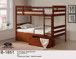 SOLID WOOD TWIN OVER TWIN BUNK BED ON SALE NOW