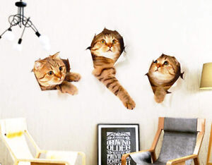 Realistic 3D Cats Wall Decoration Sticker/Poster (Large size)