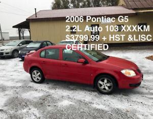 2006 Pontiac G5 ONLY 103 XXX KM LOADED $3799.99 CERT* DONT MISS