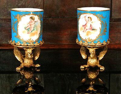 "Beautiful ""Sevres"" Porcelain Goblets on Gilt Brass Griffin Stands"