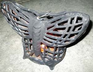 Vintage Cast Iron Butterfly Candle Holder. Rustic Black Decor