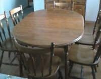Maple dining table with chairs