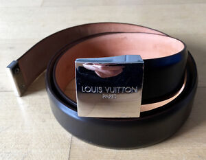 """Louis Vuitton Brown 1.25"""" Patent Leather Belt With Silver Buckle"""