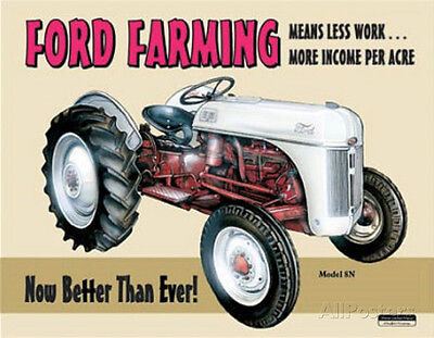 Ford Farming 8N Tractor Tin Sign - 11.5x16