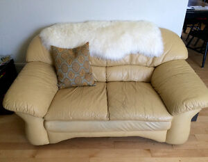 COMFY Cream Leather Loveseat